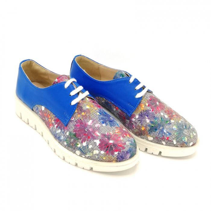 Pantofi dama din piele cu talpa joasa Flowers Blue 2
