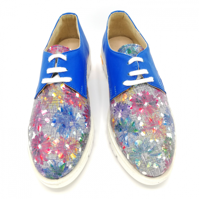 Pantofi dama din piele cu talpa joasa Flowers Blue 3