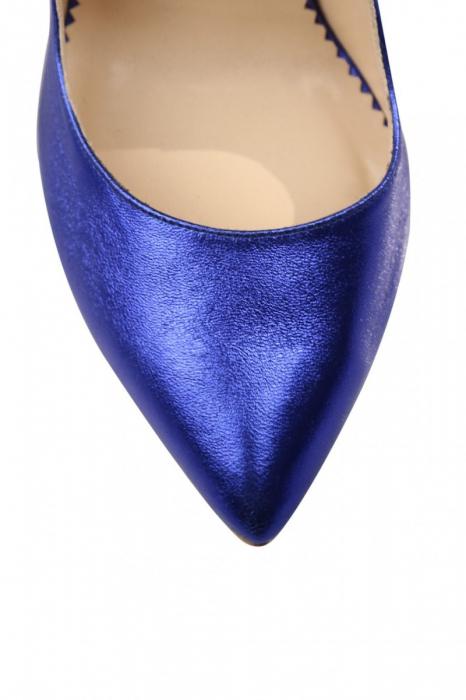 Pantofi Mihai Albu din piele metalizata Blue Stealth 3