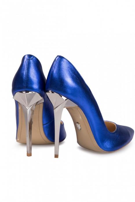 Pantofi Mihai Albu din piele metalizata Blue Stealth 1