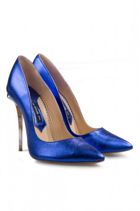Pantofi Mihai Albu din piele metalizata Blue Stealth 2