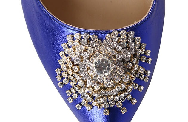 Pantofi Mihai Albu din piele metalizata Blue Stealth Crystal 2