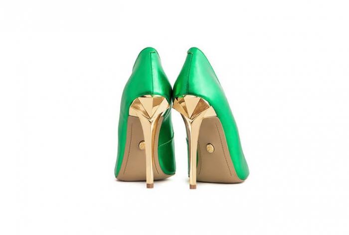 Pantofi Mihai Albu din piele metalizata Jade Stealth Crystal 2