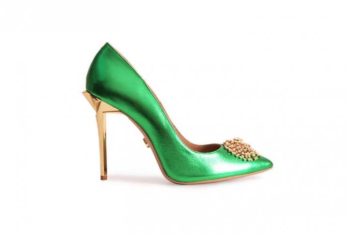 Pantofi Mihai Albu din piele metalizata Jade Stealth Crystal 0