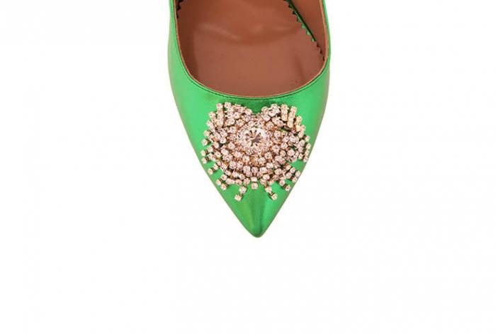 Pantofi Mihai Albu din piele metalizata Jade Stealth Crystal 3
