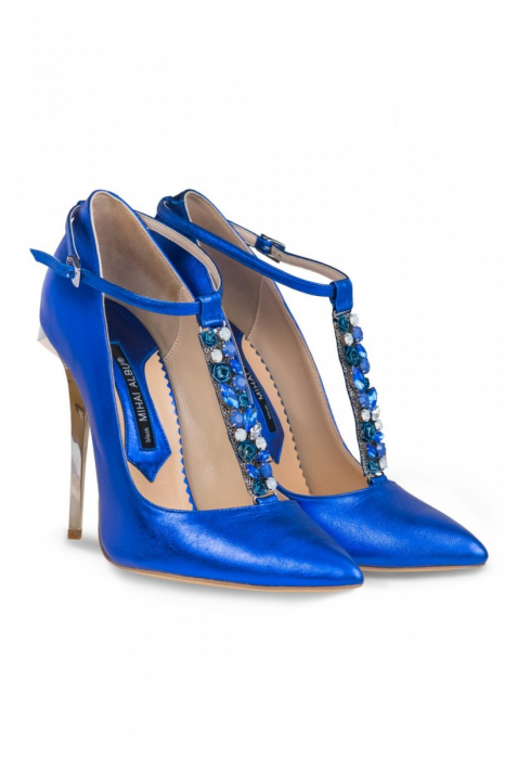 Pantofi Mihai Albu din piele metalizata Blue Stealth T 1