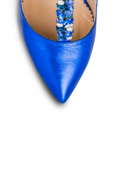 Pantofi Mihai Albu din piele metalizata Blue Stealth T 3