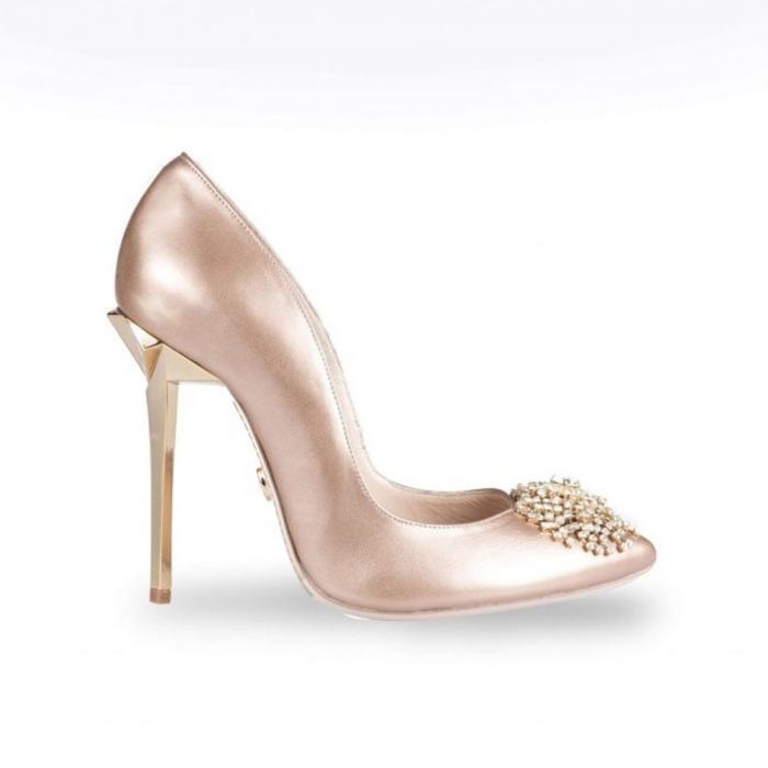 Pantofi Mihai Albu din piele metalizata Pearl Stealth Crystal