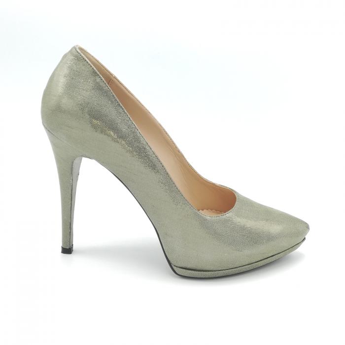 Pantofi Mihai Albu din piele metalizata Grey Strap 0