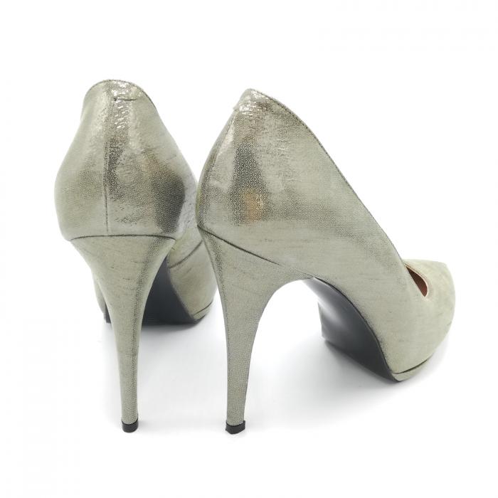 Pantofi Mihai Albu din piele metalizata Grey Strap
