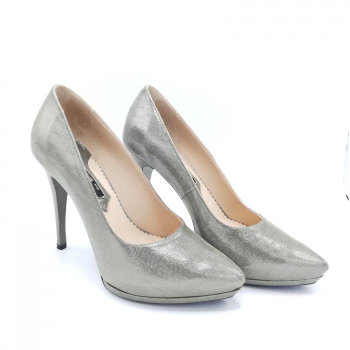 Pantofi Mihai Albu din piele metalizata Grey Strap 2