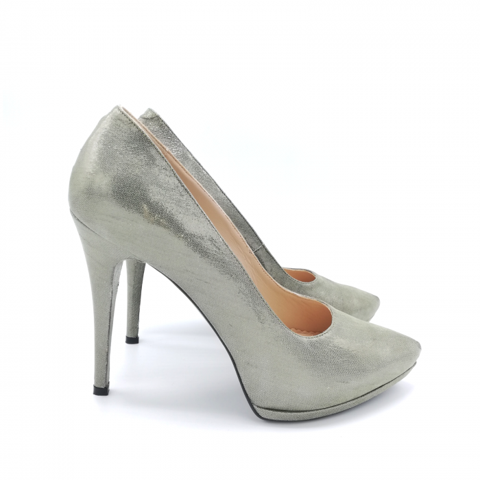 Pantofi Mihai Albu din piele metalizata Grey Strap 1