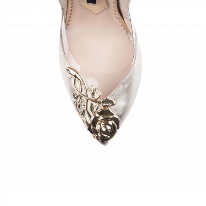 Pantofi Mihai Albu din piele metalizata Bouquet Stealth