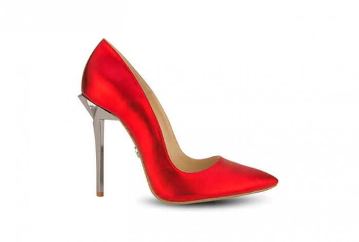 Pantofi Mihai Albu din piele metalizata Rubis Stealth Crystal 0