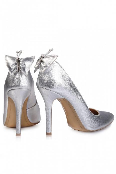 Pantofi Mihai Albu din piele metalizata Silver Butterfly 2