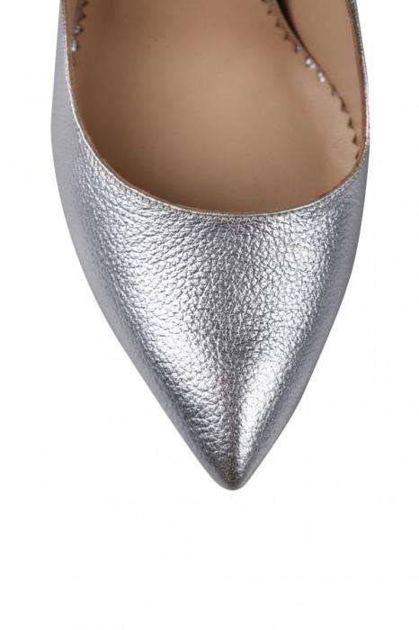 Pantofi Mihai Albu din piele metalizata Silver Butterfly 3
