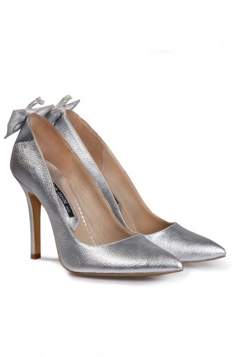 Pantofi Mihai Albu din piele metalizata Silver Butterfly 1