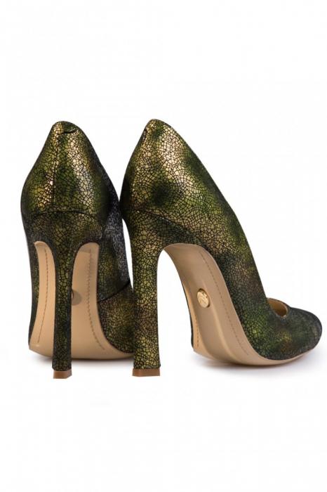 Pantofi Mihai Albu din piele texturata Green 2