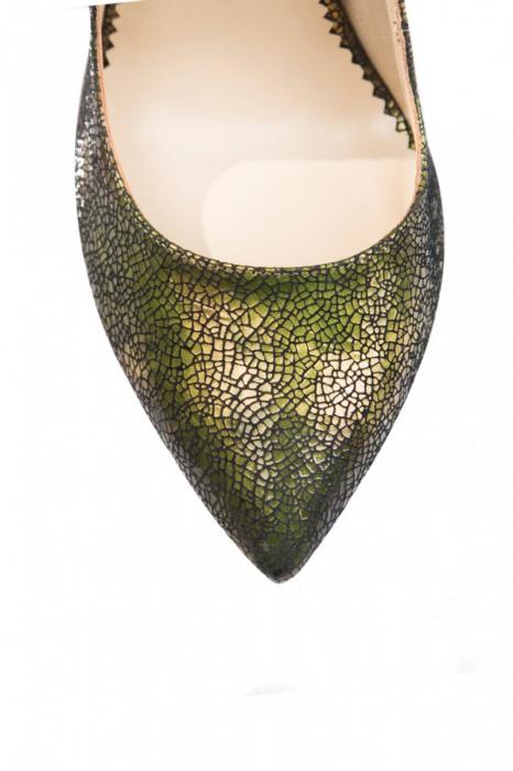 Pantofi Mihai Albu din piele texturata Green 3
