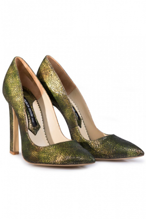 Pantofi Mihai Albu din piele texturata Green 1