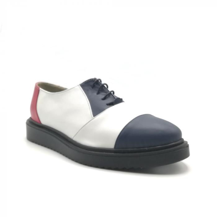 Pantofi Oxford alb cu albastru din piele naturala 1