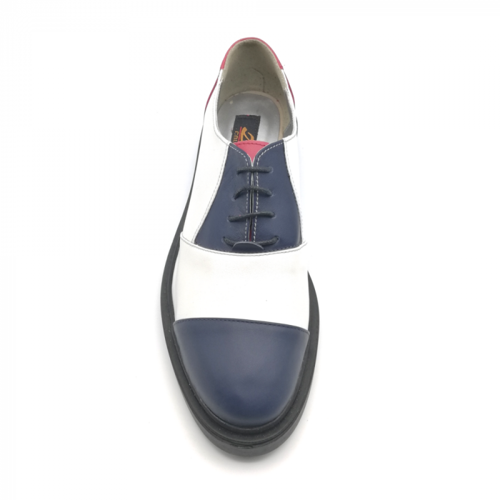 Pantofi Oxford alb cu albastru din piele naturala 3