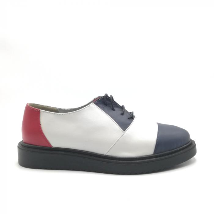 Pantofi Oxford alb cu albastru din piele naturala 0
