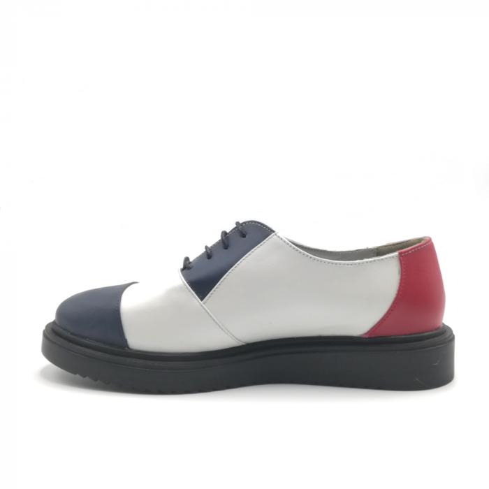 Pantofi Oxford alb cu albastru din piele naturala 2