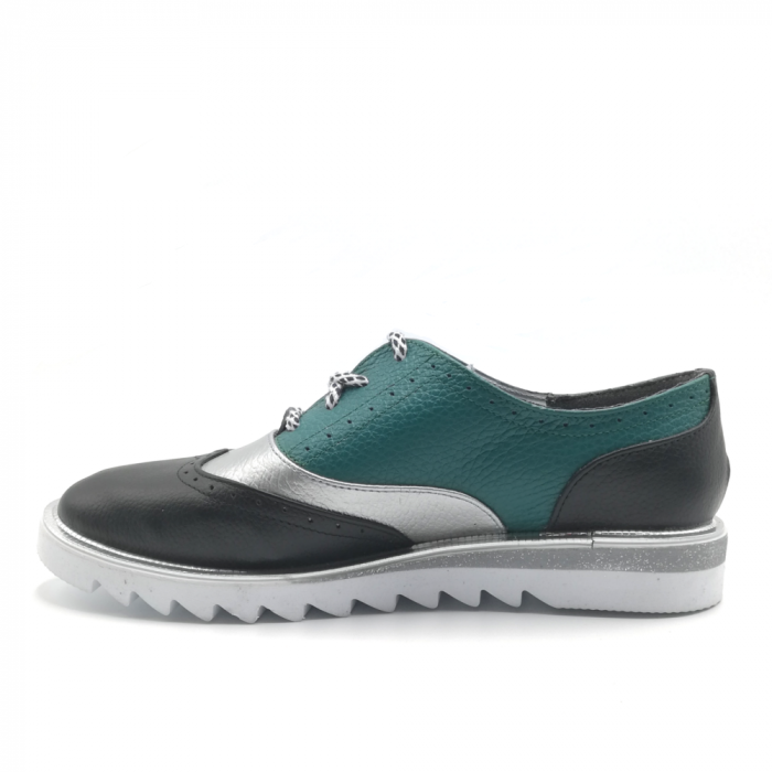 Pantofi in trei culori din piele naturala cu talpa joasa 2