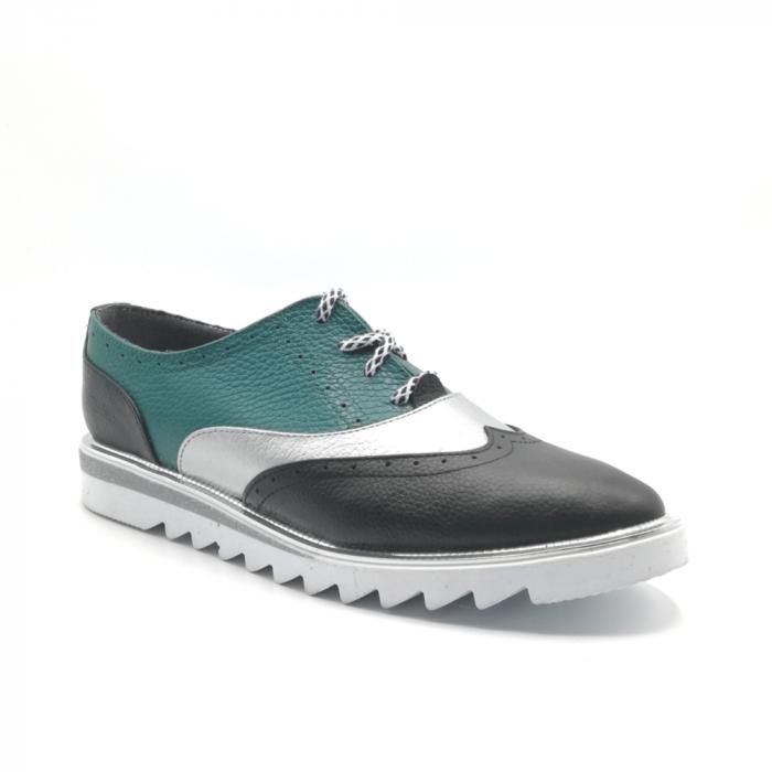 Pantofi in trei culori din piele naturala cu talpa joasa 1