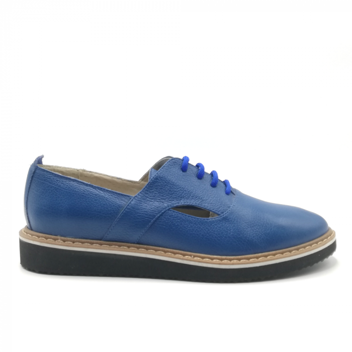 Pantofi cu talpa joasa albastri din piele naturala 0
