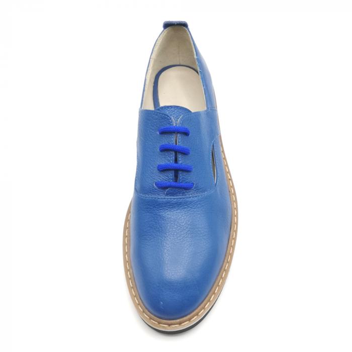 Pantofi cu talpa joasa albastri din piele naturala 3