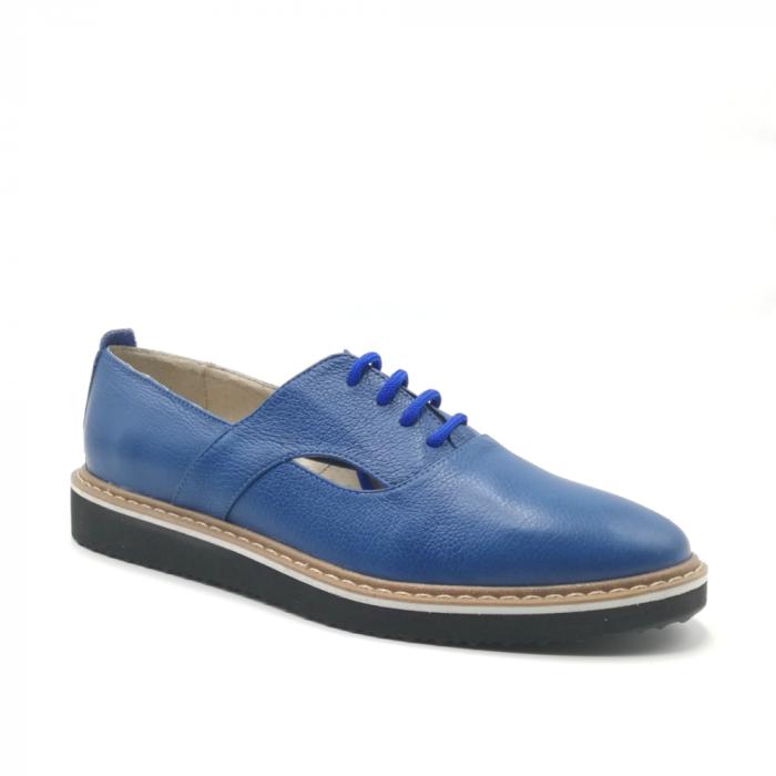 Pantofi cu talpa joasa albastri din piele naturala 1