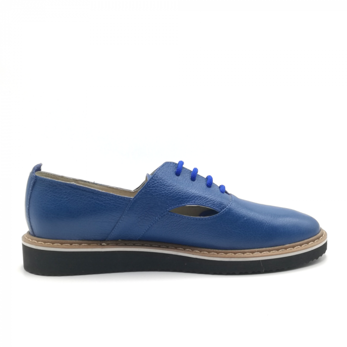 Pantofi cu talpa joasa albastri din piele naturala 2