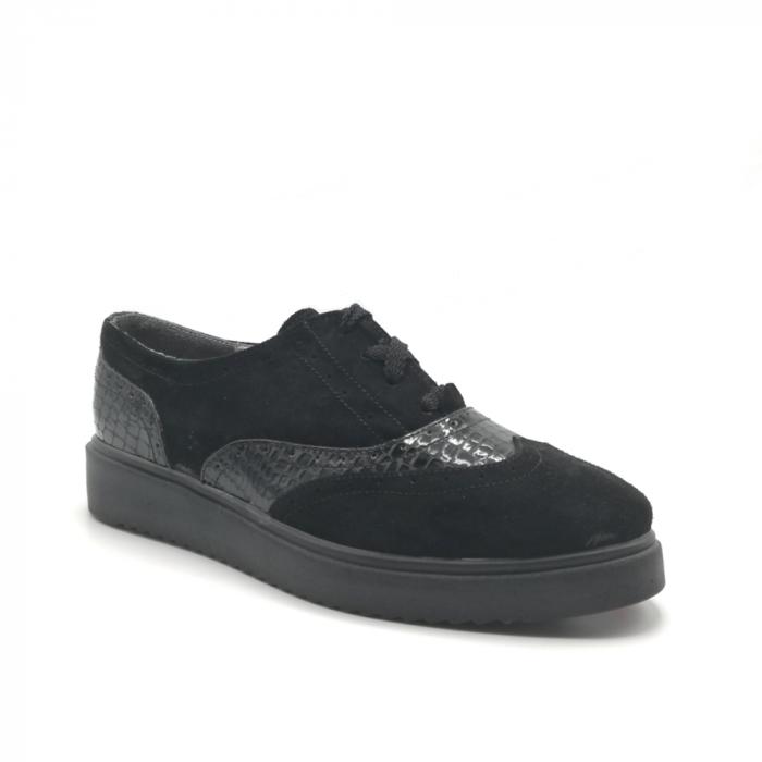 Pantofi Oxford negri din piele naturala cu detalii perforate 1