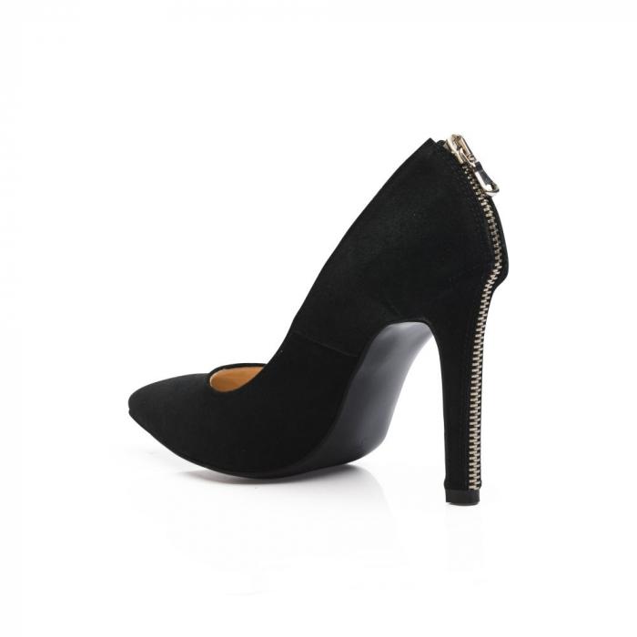 Pantofi stiletto din piele intoarsa negri cu fermoar decorativ pe toc CA38, 39 4