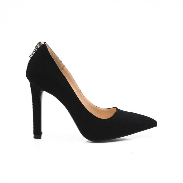 Pantofi stiletto din piele intoarsa negri cu fermoar decorativ pe toc CA38, 39 1