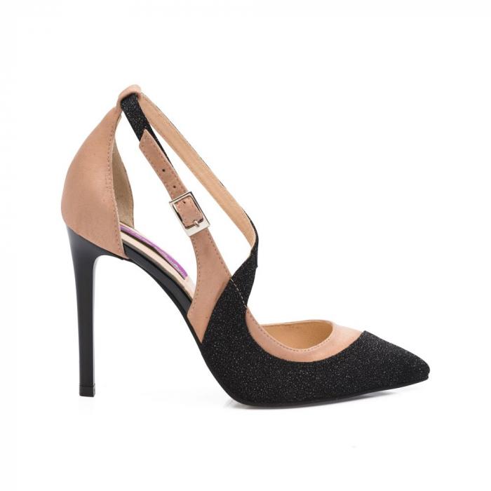 Pantofi stiletto din piele intoarsa bej si negru CA32 1