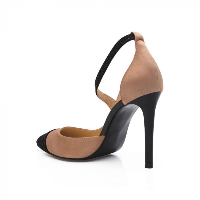 Pantofi stiletto din piele intoarsa bej si negru CA32 3