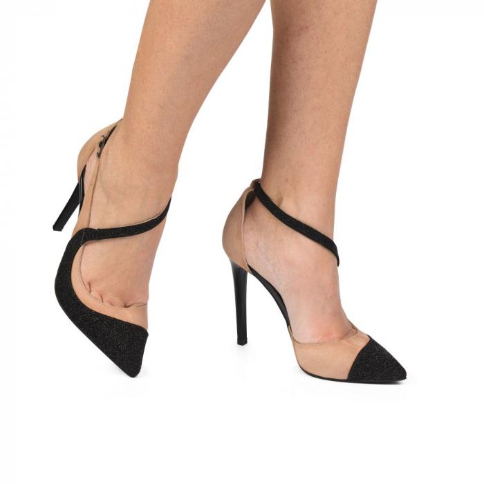 Pantofi stiletto din piele intoarsa bej si negru CA32 0