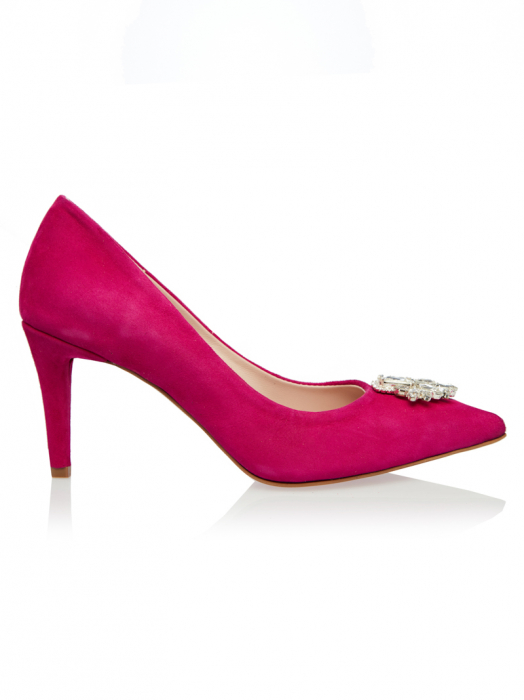 Pantofi stiletto din piele intoarsa fucsia Samira 0