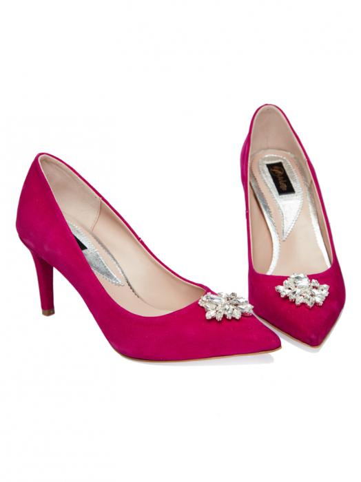 Pantofi stiletto din piele intoarsa fucsia Samira 1