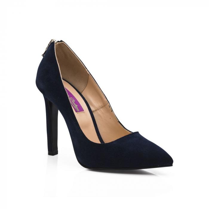 Pantofi stiletto din piele intoarsa bleumarin cu fermoar decorativ pe toc CA38