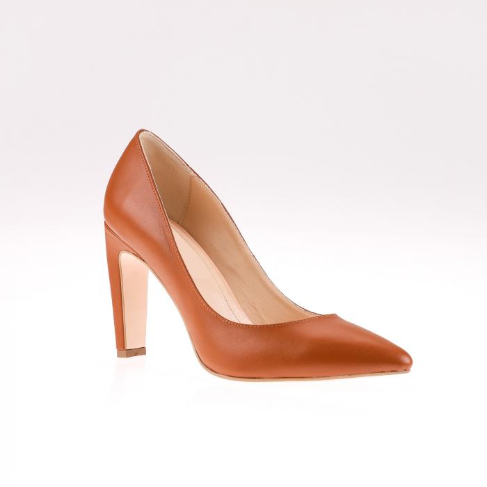 Pantofi stiletto din piele naturala Brown Box 1