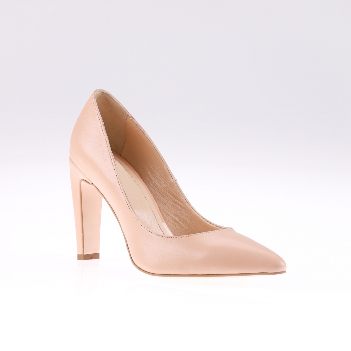 Pantofi stiletto din piele naturala Nude Box 1