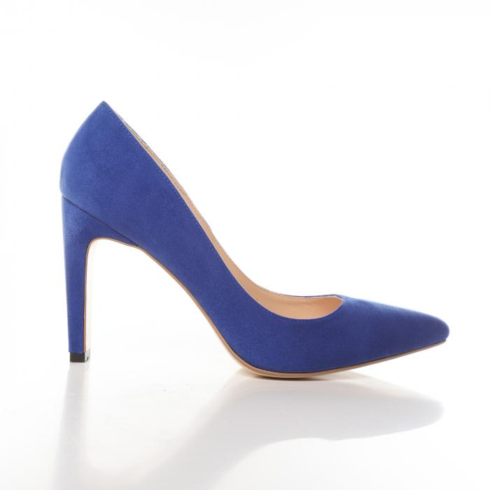 Pantofi stiletto albastri din piele intoarsa Briquette 0