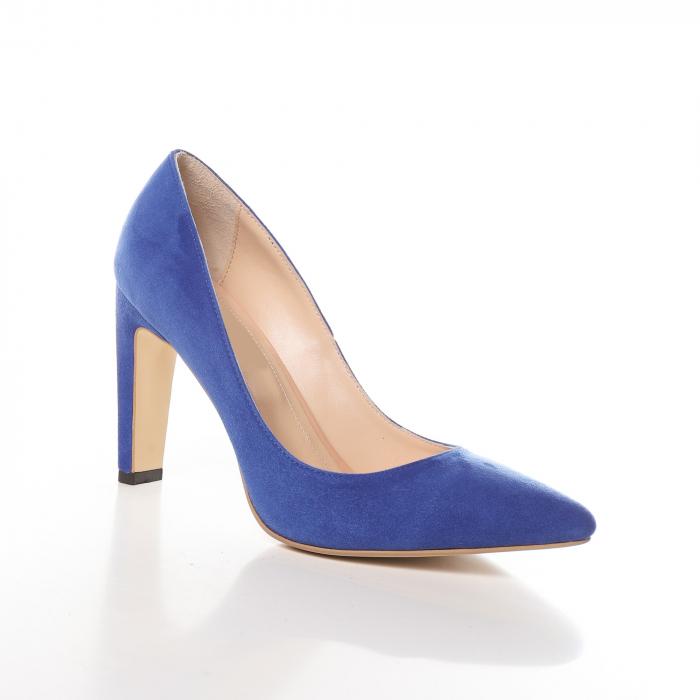 Pantofi stiletto albastri din piele intoarsa Briquette 1