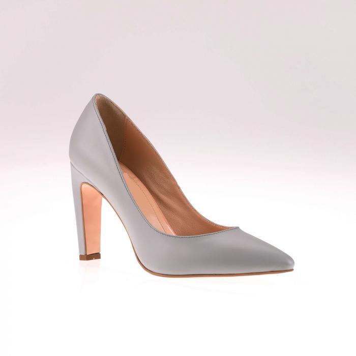 Pantofi stiletto din piele naturala Gri, 38 [2]