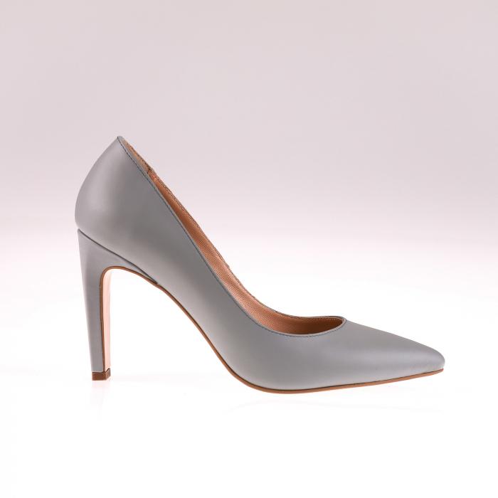 Pantofi stiletto din piele naturala Gri, 38 [0]