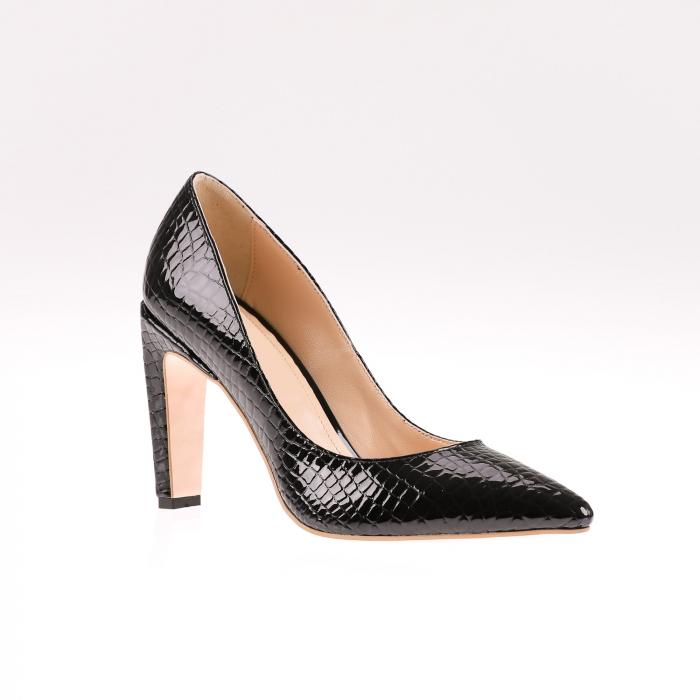 Pantofi stiletto din piele naturala lacuita Croco Negru 2